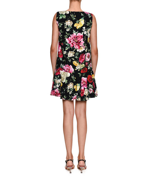Sleeveless Floral-Print Cotton Cady A-Line Dress