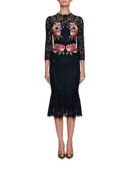 Dolce & Gabbana High-Neck Long-Sleeve Lace Dress w/