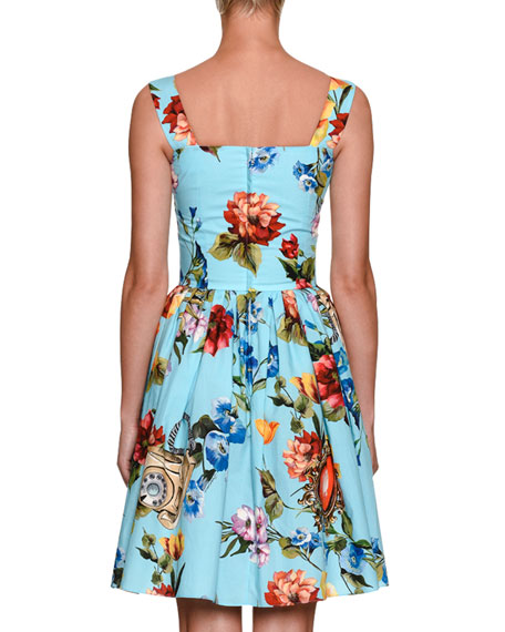 Dolce & Gabbana SLVLSS BUTTON FRONT BLUE FLO