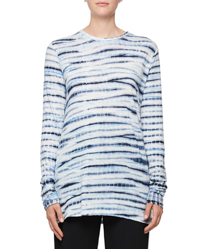 Space-Dye Crewneck Cotton Top