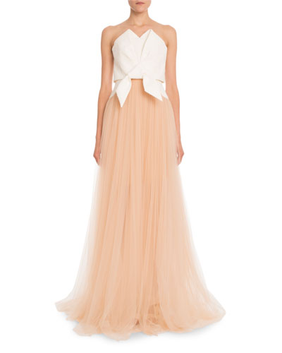Strapless Fil Coupe Folded Bow Top and Tulle Skirt Evening Gown