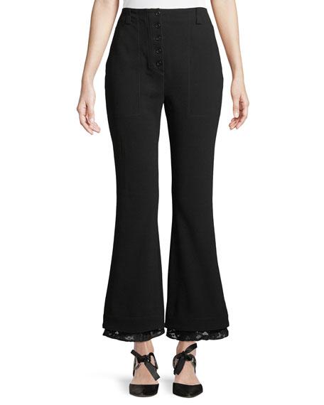 Flared Lace-Trim Pants