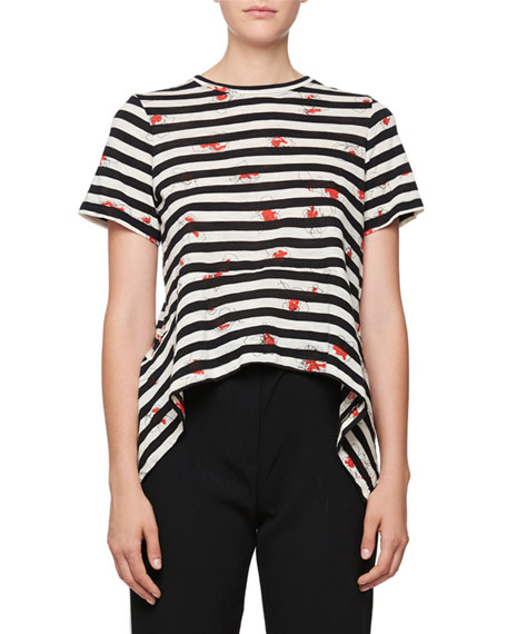 Proenza Schouler Short-Sleeve Striped Poppy-Print Tee