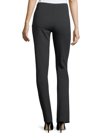 High-Rise Straight-Leg Pintucked Jersey Pants