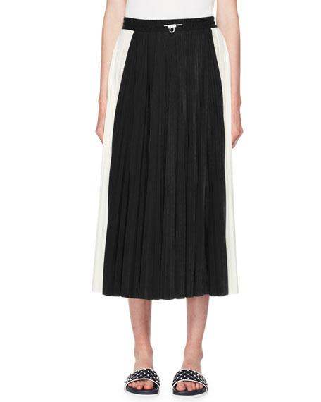 Valentino Pleated Jersey Midi Skirt