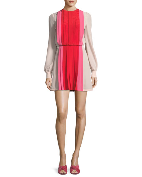 Valentino Long-Sleeve Pleated Crepe de Chine Colorblock Mini