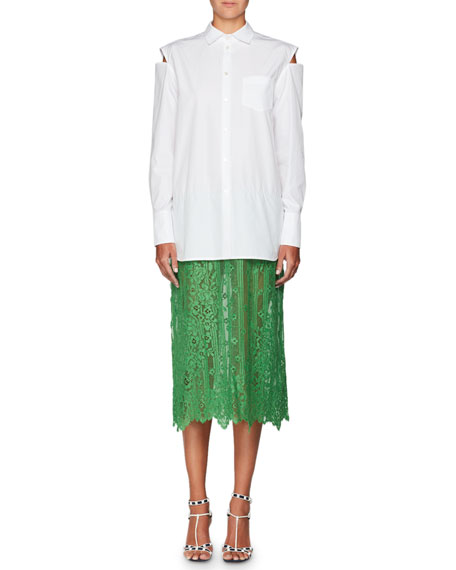 Valentino Long-Sleeve Button-Front Poplin Shirt with Attached