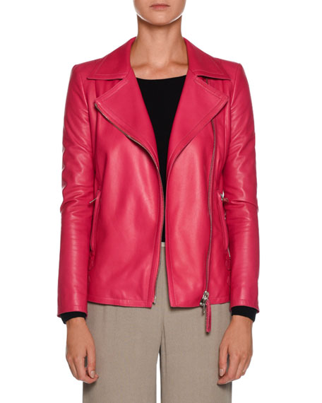 Asymmetric-Zip Lamb Leather Moto Jacket