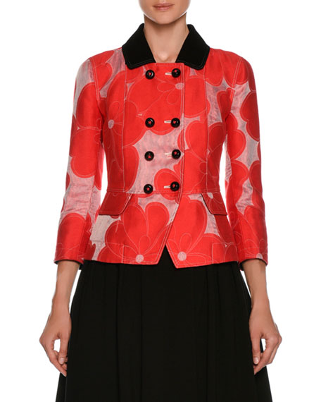 Double-Breasted Floral-Jacquard Cotton-Silk Jacket