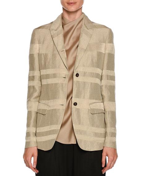 Striped Button-Front Linen-Blend Blazer