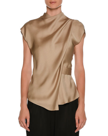Giorgio Armani High-Neck Cap-Sleeve Silk Charmeuse Blouse and