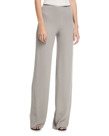 Giorgio Armani Side-Zip Crinkled Cady Wide-Leg Pants
