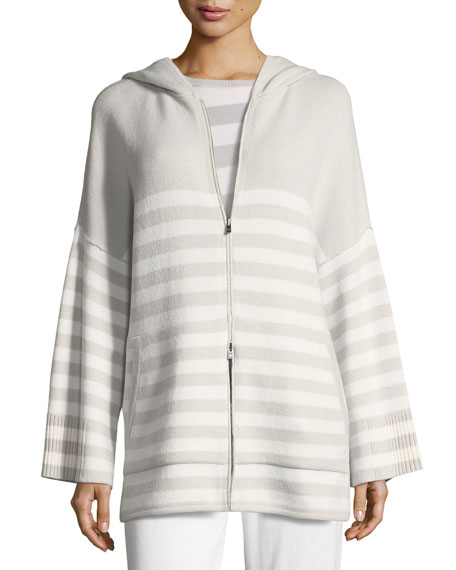 Loro Piana Crewneck 2-Way Striped Cashmere Sweater and