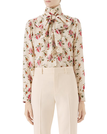 Gucci Rose-Print Silk Shirt and Matching Items