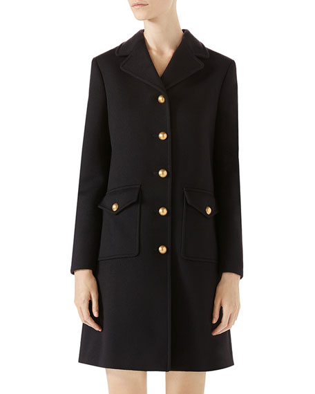 Single-Breasted Wool Coat, Black