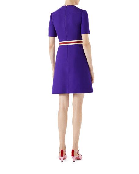 Wool-Silk Pintuck Dress with Belt