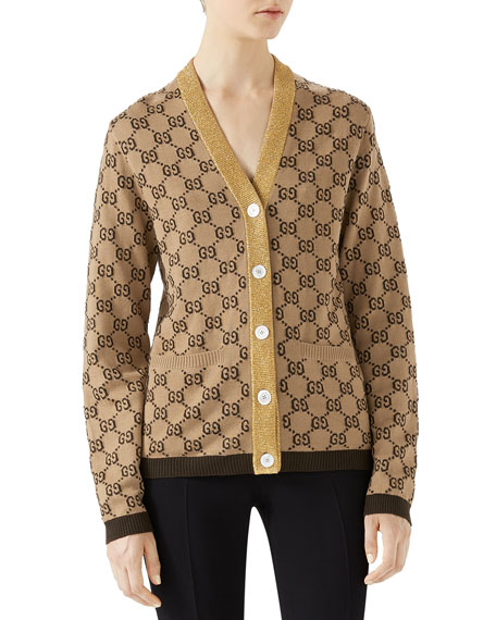 Gucci GG Intarsia Jacquard Cardigan with Metallic Trim