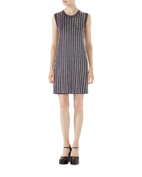 Gucci Crystal Ribbed Sleeveless Dress