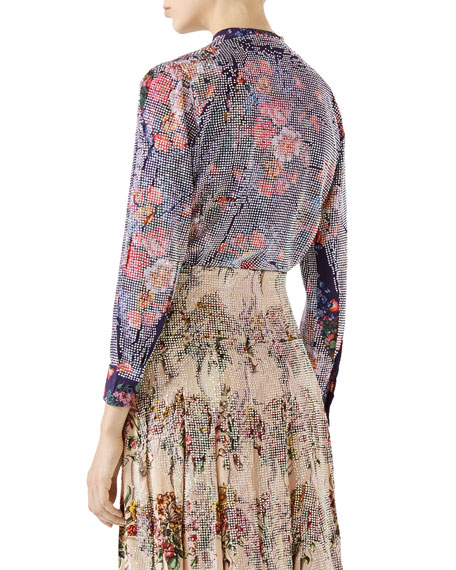 Floral-Print with Crystals Shirt