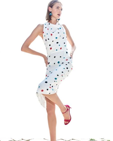 Cosmic-Dot Racerback Sheath Midi Dress