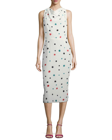 Emporio Armani Cosmic-Dot Racerback Sheath Midi Dress