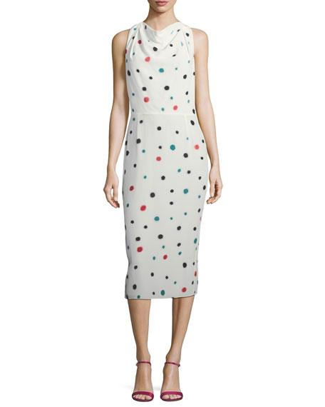 Emporio Armani Cosmic-Dot Racerback Sheath Midi Dress