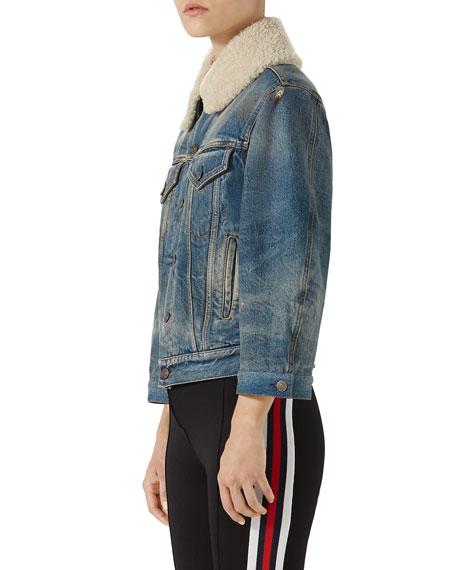 Stone-Washed Denim Jacket with Fur Cuffs