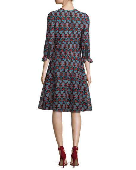 Crewneck Aquatic Embroidered Lace Midi Dress
