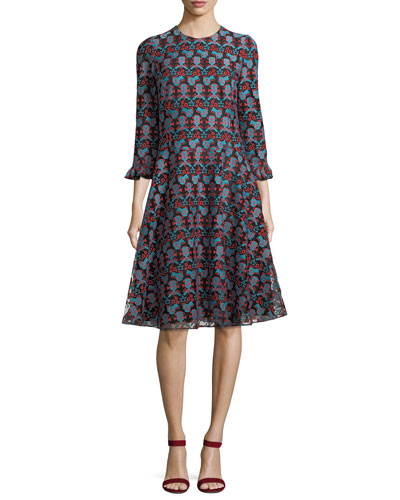 Crewneck Aquatic Embroidered Lace Midi Dress