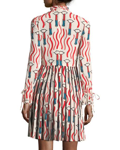 Mock-Neck Long-Sleeve Crepe de Chine Lipstick-Print Dress