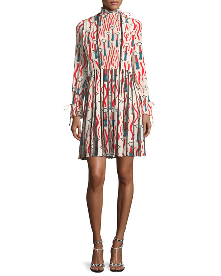 Valentino Mock-Neck Long-Sleeve Crepe de Chine Lipstick-Print