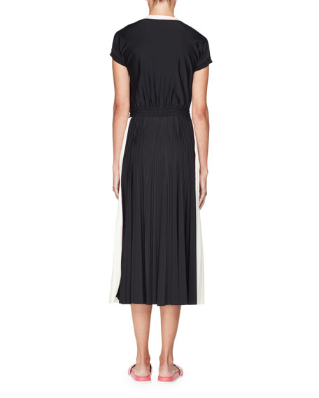 Short-Sleeve Faux-Wrap Bicolor Jersey Midi Dress