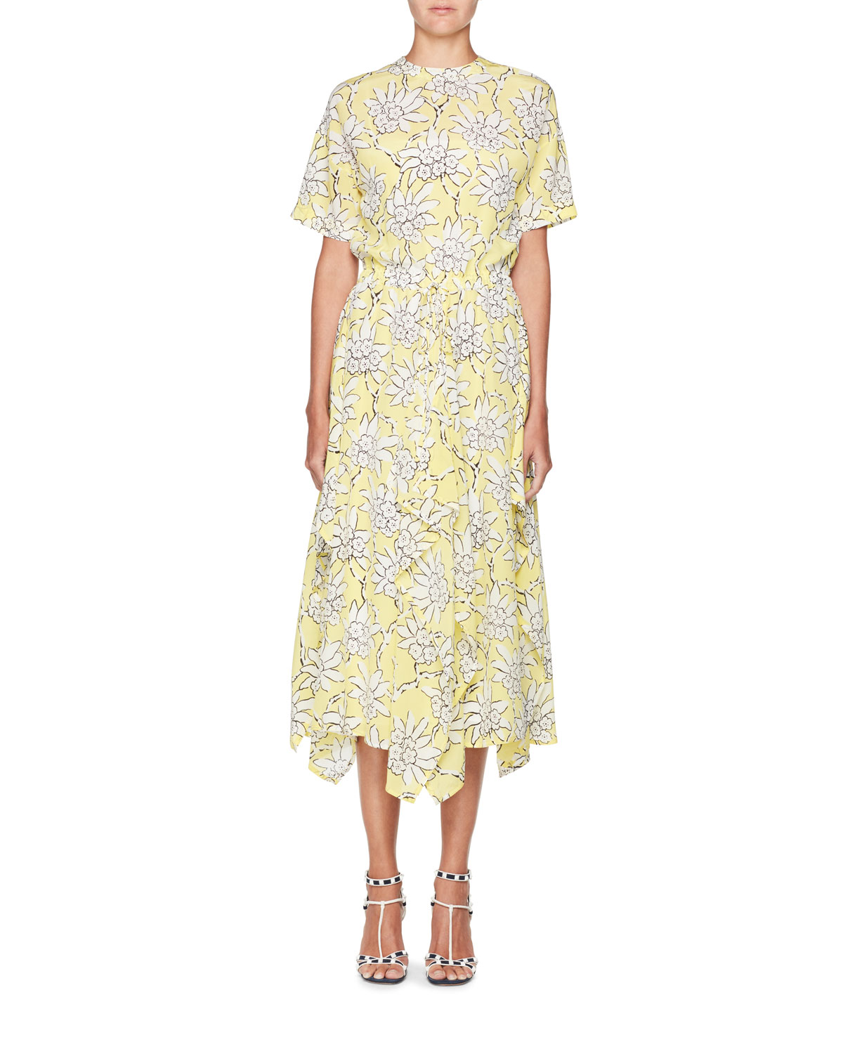 aabeecc2810 Valentino Floral-Print Short-Sleeve A-Line Midi Dress