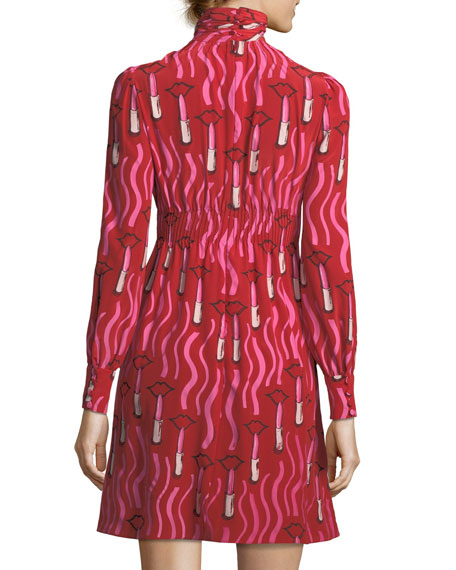 Zandra Mock-Neck Long-Sleeve Crepe de Chine Lipstick-Print Dress
