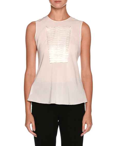 Sleeveless Silk Shell with Origami Panel