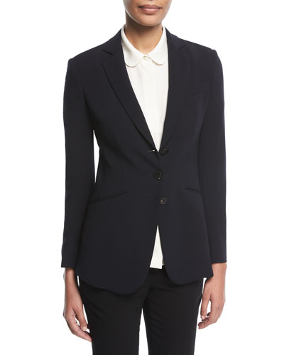 Notched-Lapels 3-Button Tailored Wool Blazer