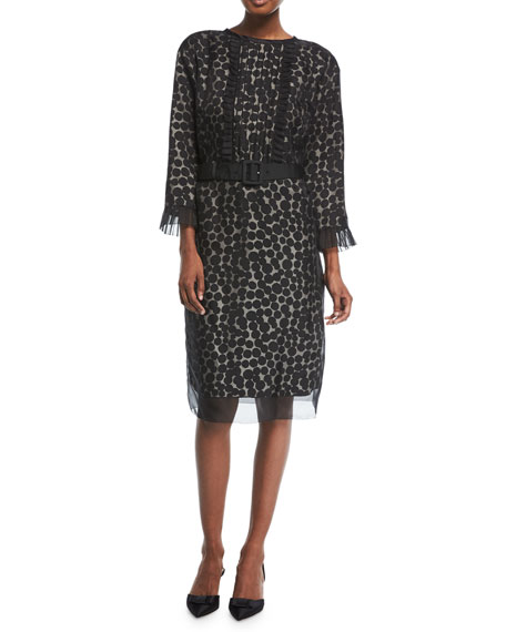 Marc Jacobs 3/4-Sleeve Dot Jacquard Dress
