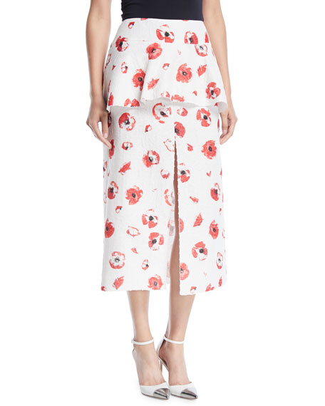 Proenza Schouler Sleeveless Poppy-Print Jacquard Peplum Top and