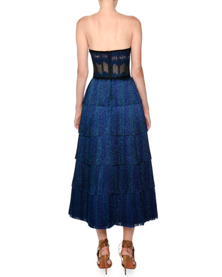 Strapless Fringe Corset Lamé Tea-Length Metallic Knit Gown