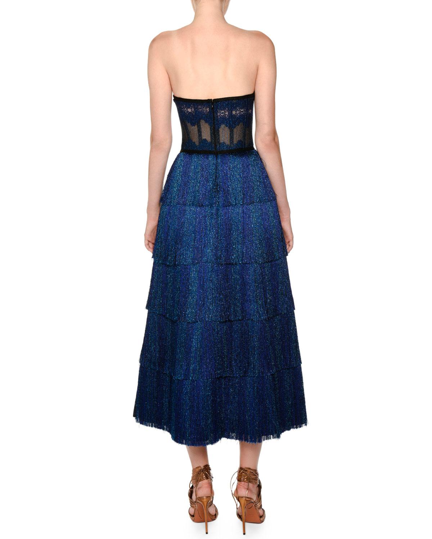 Missoni Strapless Fringe Corset Lamé Tea-Length Metallic Knit Gown ...
