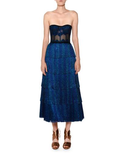 Strapless Fringe Corset Lamé Tea-Length Metallic Knit Gown