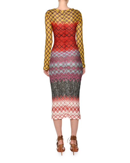 Crewneck Long-Sleeve Multicolor Knit Midi Dress