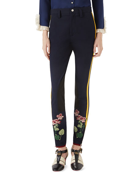 Floral-Embroidered Leggings with Stripe