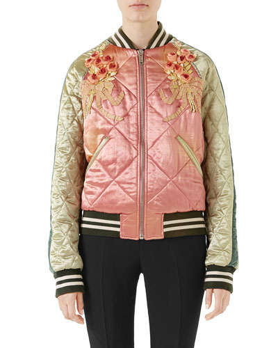 Embroidered Acetate Bomber Jacket