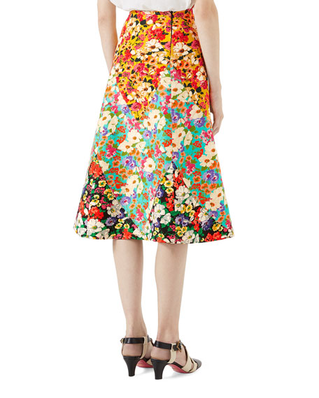 Wildflowers Wool A-Line Skirt