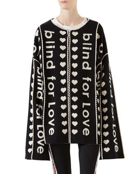 Oversized Wool And Cashmere-Blend Jacquard Jacket, Black/White