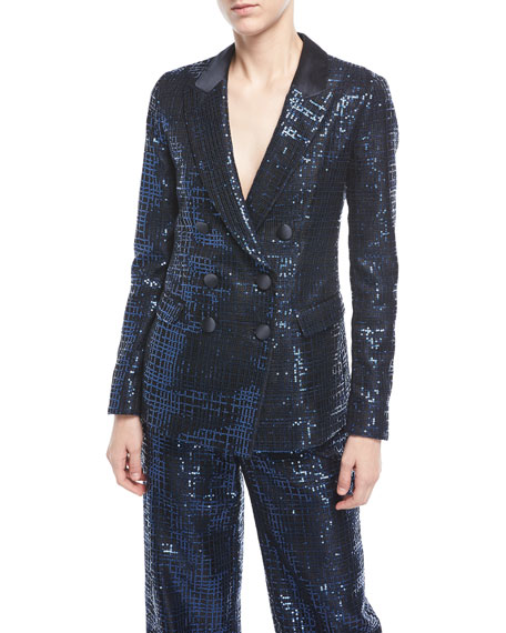 Metallic Tweed Double-Breasted Jacket