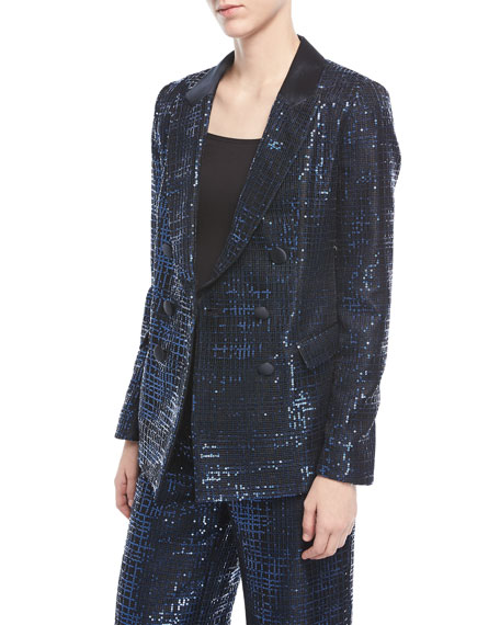 Emporio Armani Metallic Tweed Double-Breasted Jacket