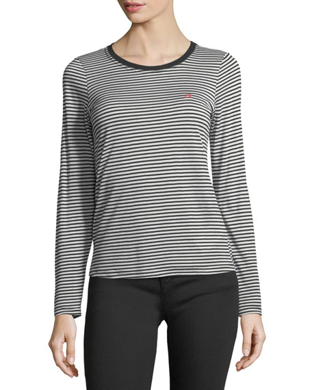 Crewneck Striped Cotton Top