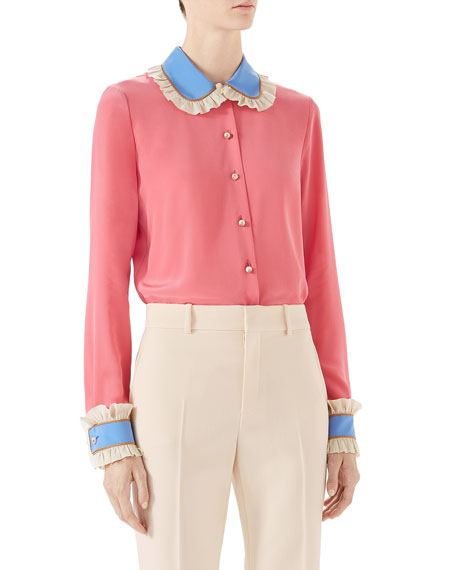 Gucci Silk Shirt with Necktie and Matching Items